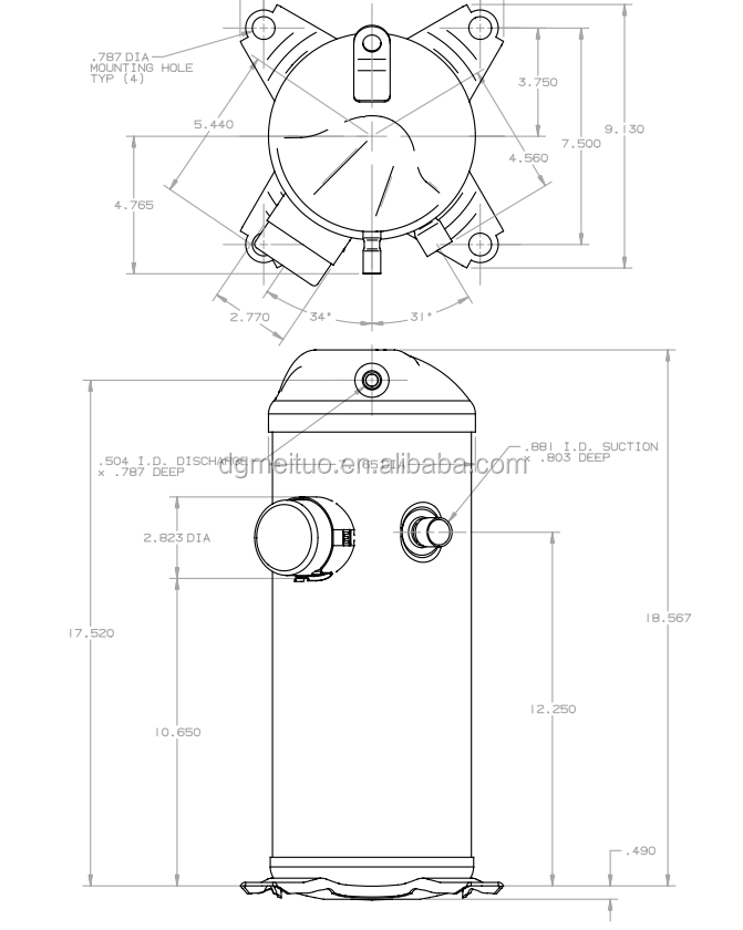 5hp Bristol Compressor Refrigeration Compressor Ac Air
