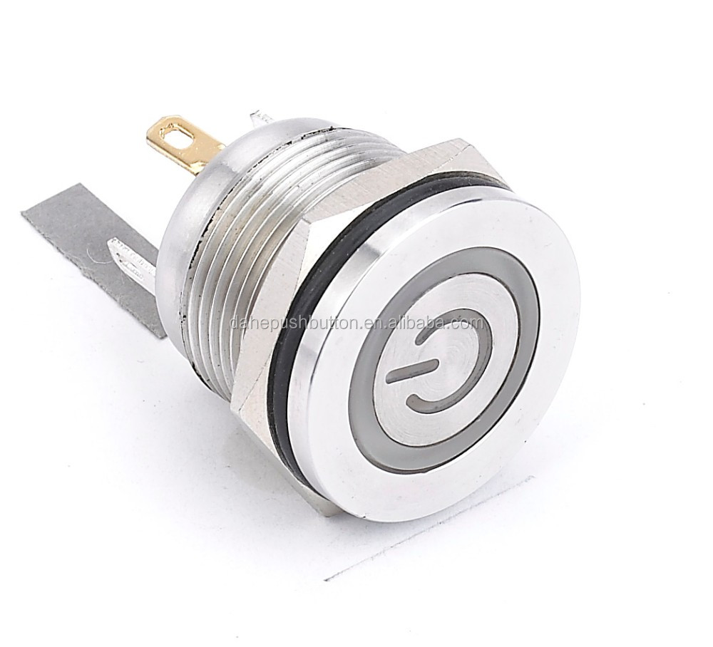 hight resolution of  hyperplane head led momentary anti vandal long life metal push button switch with power