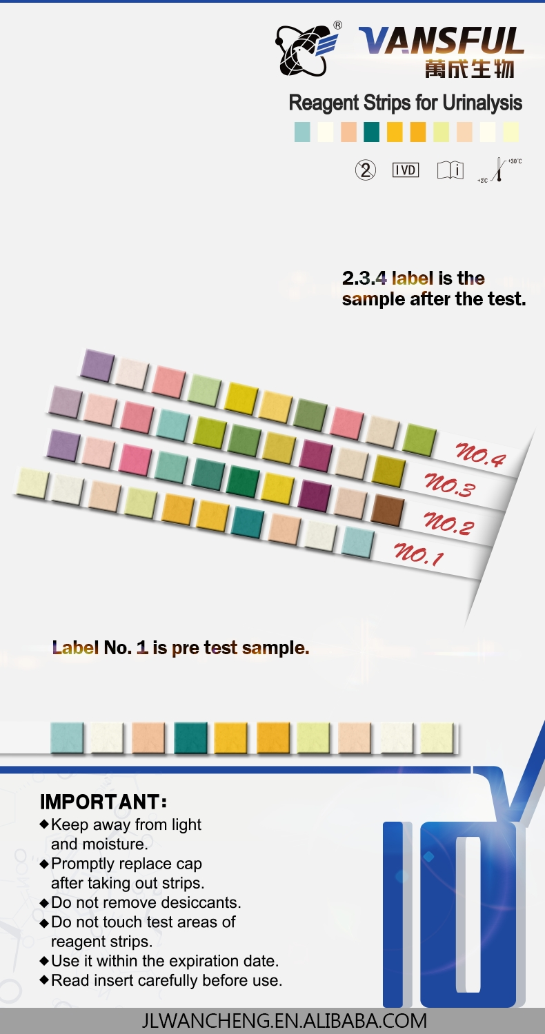 hight resolution of diagnostic urine test strips urinalysis 10 parameters
