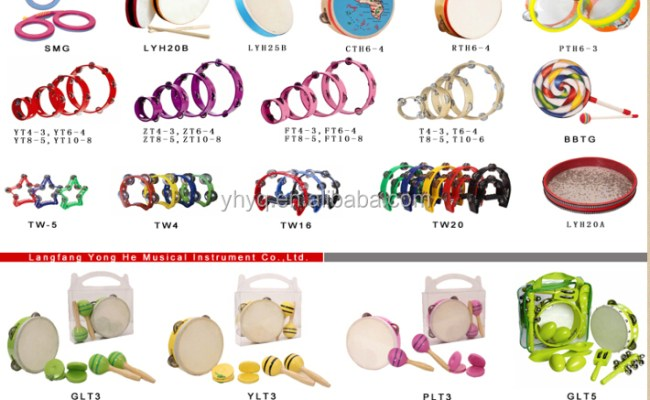 Small Percussion Musical 6 Tambourine With Real Skin Drum