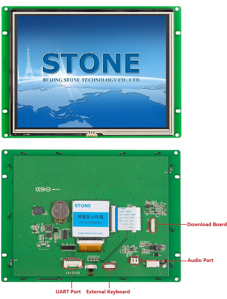 8 inch Industrial Display Panel LCD with Serial UART Interface + Controller + Driver + Software