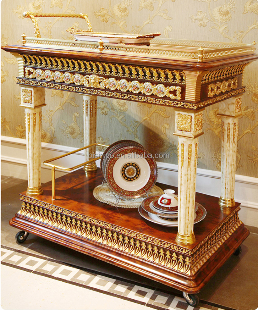 Fancy French Home Dining Room Wooden Food Service Trolley