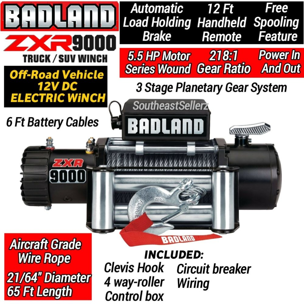medium resolution of get quotations badland 9000 lb off road electric winch