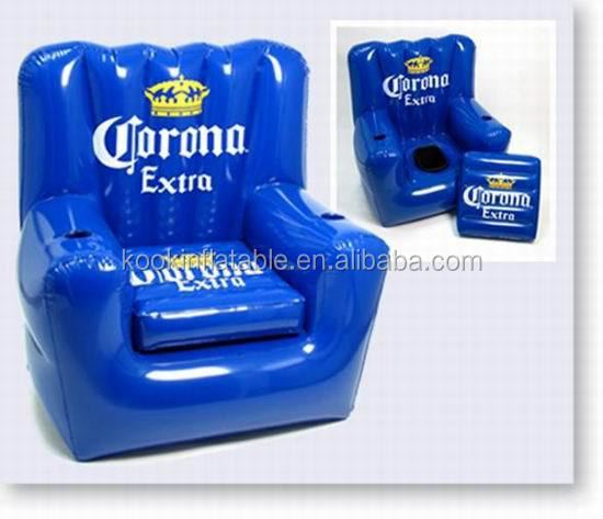 Adult Pvc Beach Chair Inflatable Air Sofa Seat With Drink