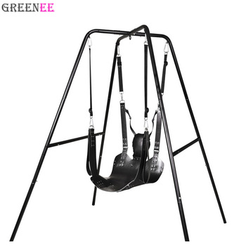 swing chair game travel high chairs two layers leather bondage restraint sling adult hammock bed toy