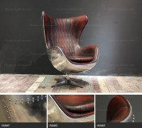 Commercial Furniture Hand Dyed Leather Egg Shaped Chair ...
