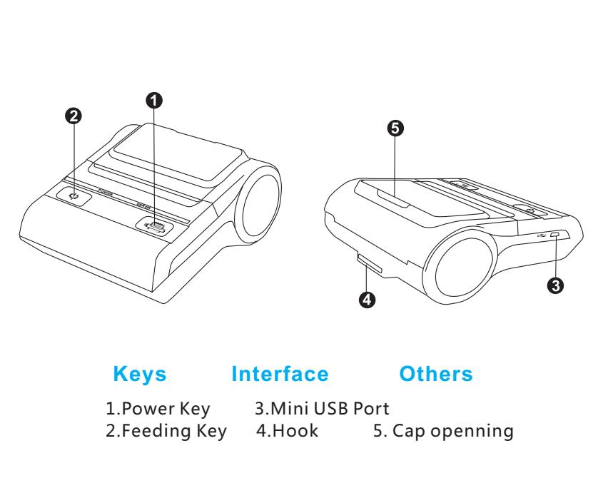 Mini A4 Bluetooth Receipt Printer Hba-8002 Portable Small