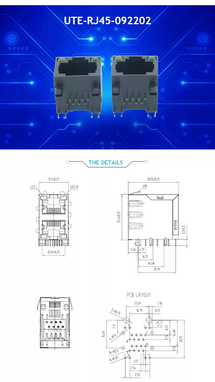 medium resolution of top entry rj45 female jack 8p8c 6p6c 4p4c pcb network connector chinese supplier