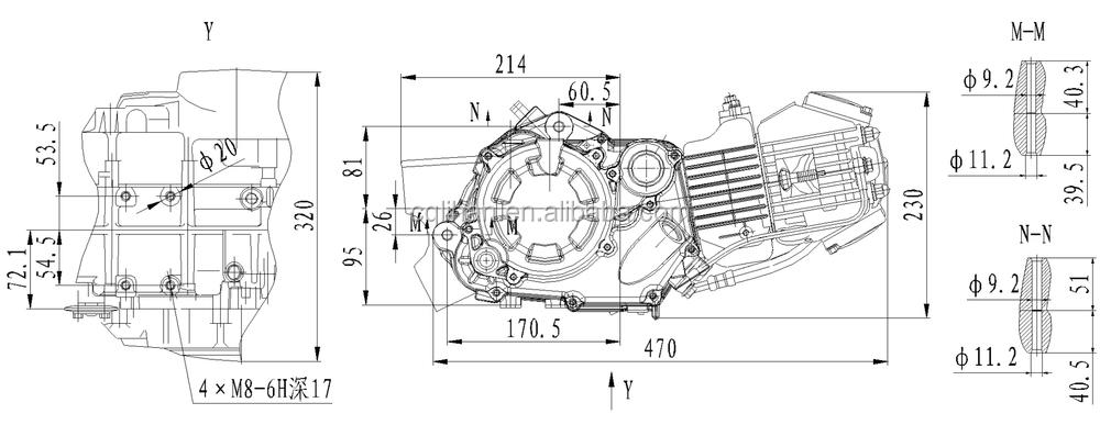 Genuine 4 Stroke W150-G Zongshen 150cc Engine with Manual