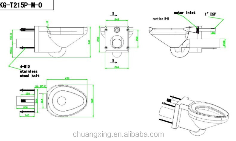 Indian Model Wall Hung Stainless Steel Toilet Wc Sink