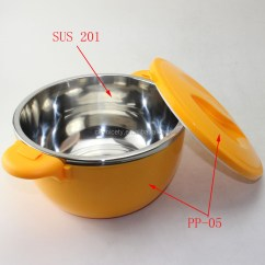 Kitchen Pot Sets Unfinished Cart Indian Stainless Steel Thermal Serving Bowl With Plastic ...