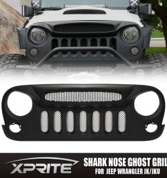 get quotations xprite front matte black shark nose ghost grille grid grill w mesh insert for jeep [ 1000 x 1000 Pixel ]