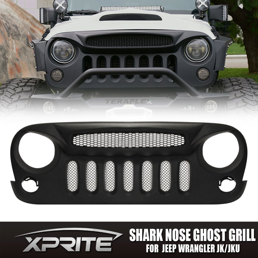 hight resolution of get quotations xprite front matte black shark nose ghost grille grid grill w mesh insert for jeep