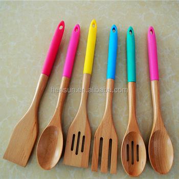 kitchen utensils set white corner cabinet 竹木制硅胶把手厨房用具套装小勺子烹饪工具 buy 竹餐具套装 硅胶把手