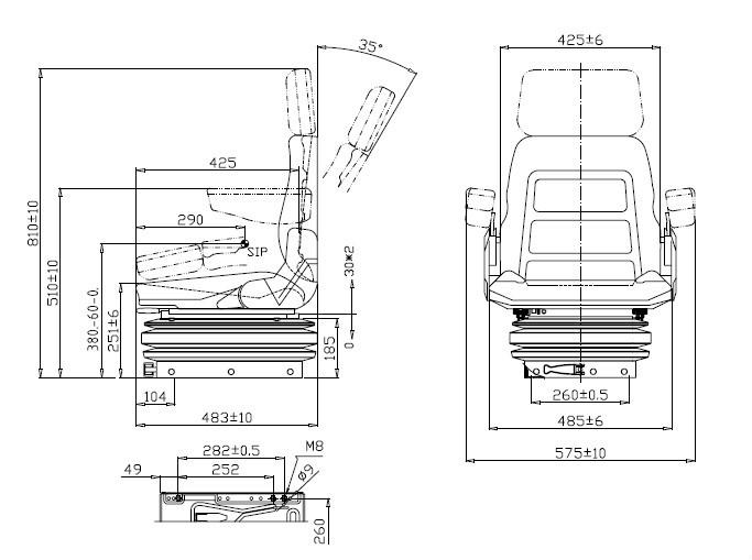 Mini Excavator Seat Machinery Suspension/backrest