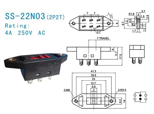 2p2t Voltage Conversion 110v-220v 115v-230v Slide Switch
