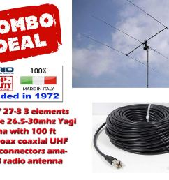 get quotations sirio sy 27 3 3 elements yagi beam cb 10meter antenna with 100ft coax [ 1500 x 1116 Pixel ]