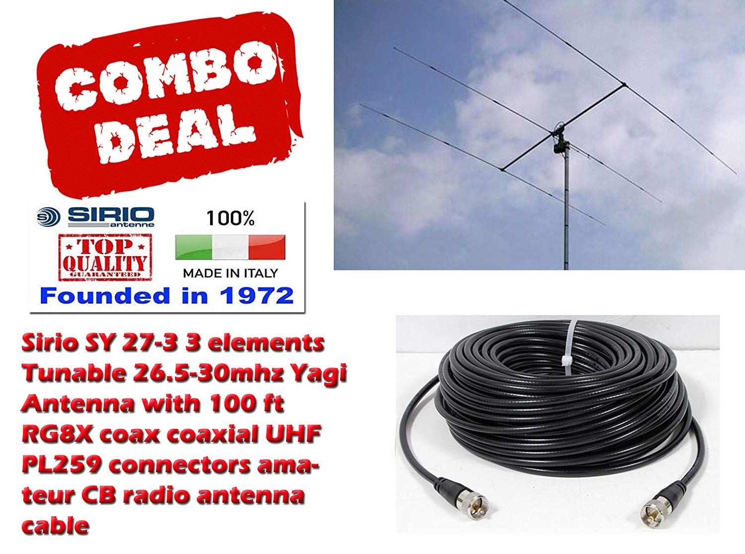 hight resolution of get quotations sirio sy 27 3 3 elements yagi beam cb 10meter antenna with 100ft coax