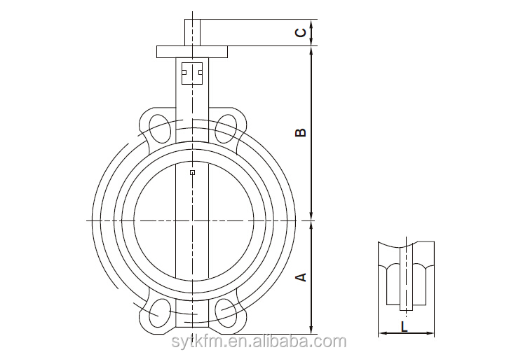 Hot Sale Ss304 Manual Centerline Ductile Iron Butterfly