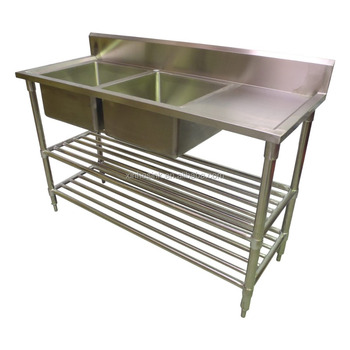 commercial kitchen sink one hole faucet australian with work table stainless steel two 2 compartment