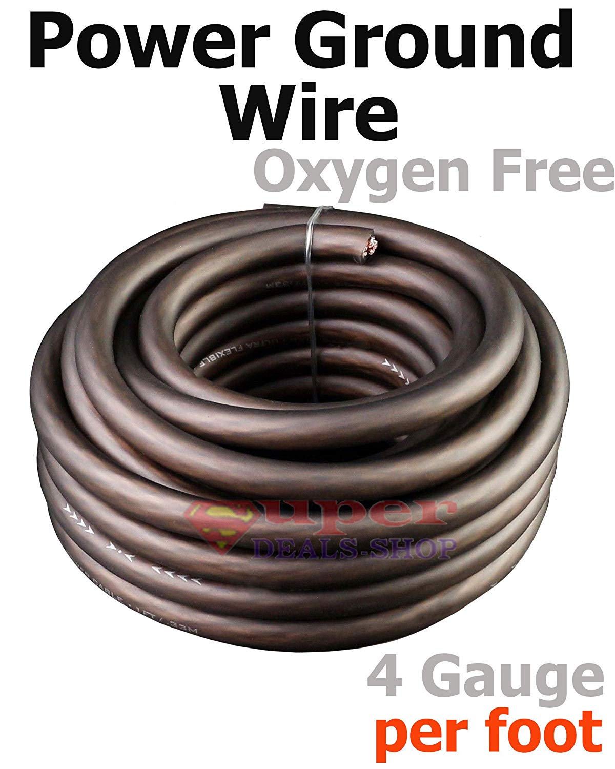 hight resolution of get quotations ultra flexible black oxygen free 4 gauge awg power ground stranded wire cable car audio copper
