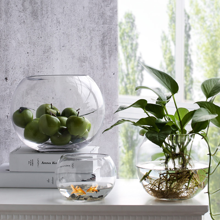 living room ornaments fifth wheel in front simple circularclear glass gold fish tank water flower vase