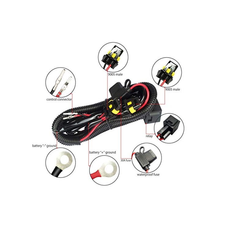 Hid Conversion Kit With 12v 40a Relay 30a Fuse And 18awg
