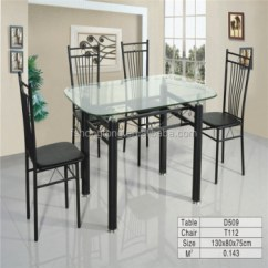 Metal Kitchen Table Sets Home Depot Island Lighting Glass Dining Steel Frame Leg And Top Beauty