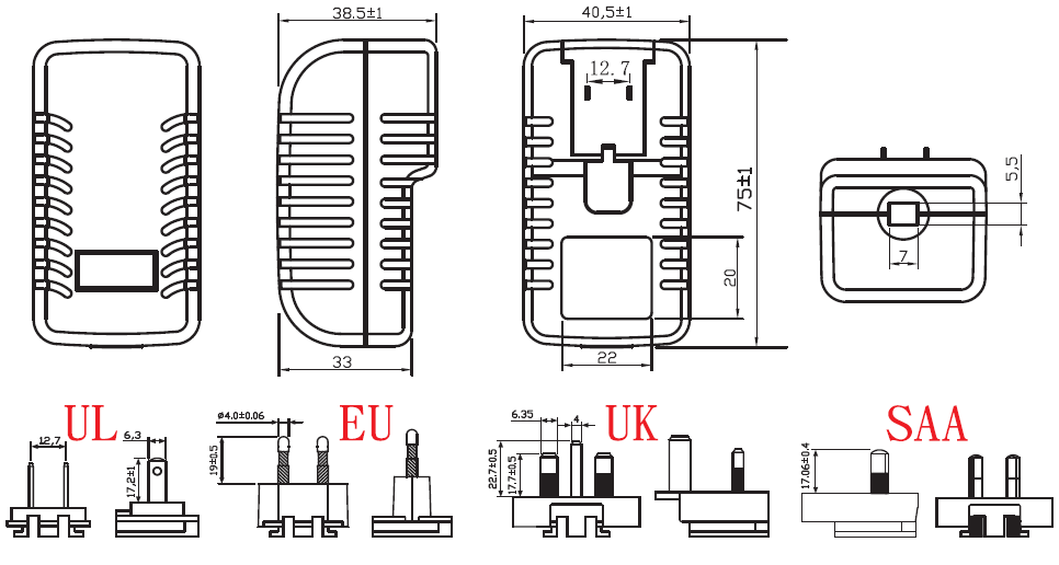 Multi Plugs Ac100 240v 50 60hz 13v 1.5a 1500ma Power