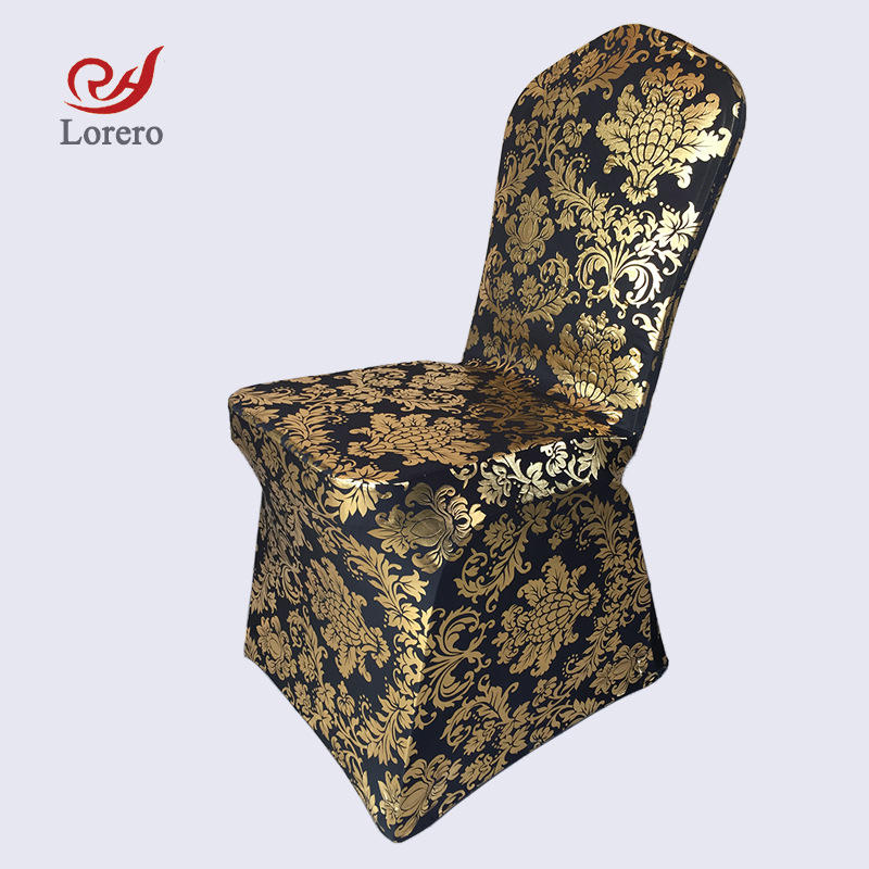 gold universal chair covers egg swing with stand banquet himmering spandex ruched stretch cover