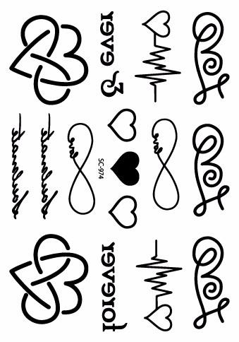 Sc 974último Taty Corazón Carta Cardiograma Diseños Del Tatuaje