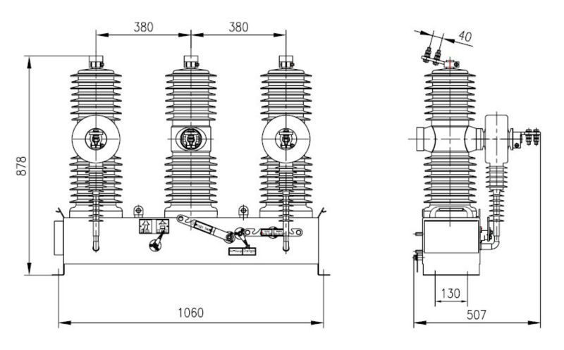 ZW43A-24 24kV 630A midium voltage 3 phase outdoor pole