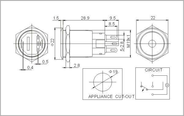 16mm Illuminated Stainless Steel Push Button Switch Turn