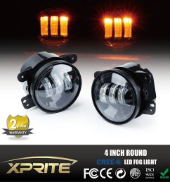 get quotations xprite 4 inch amber yellow 60w cree led fog lights for jeep wrangler 1997  [ 1500 x 1500 Pixel ]