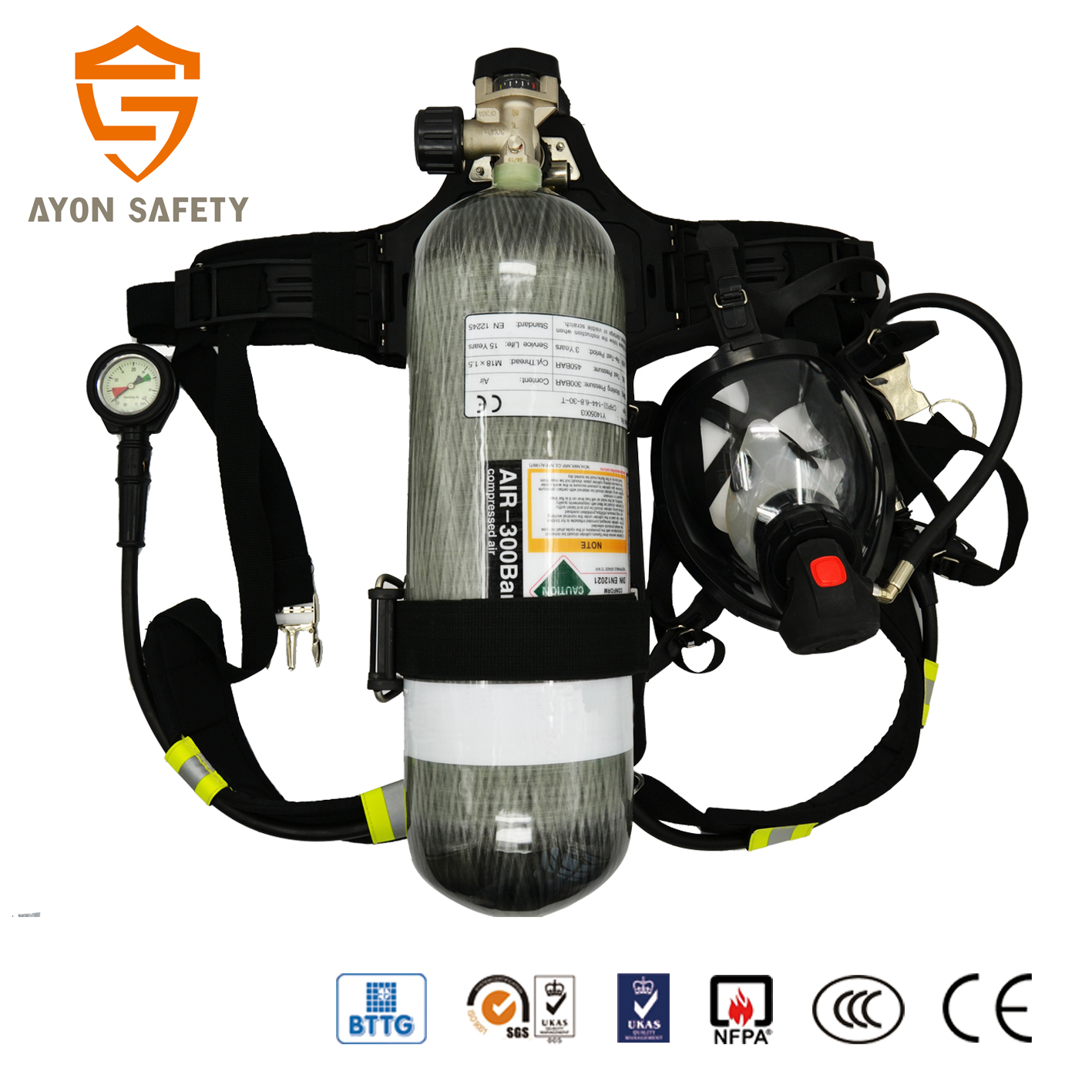 hight resolution of self contained breathing apparatus with 6 8l carbon fiber cylinder similar with scott scba
