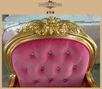 Wedding Chair,Gold Wooden Pink Throne Chair