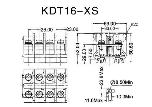 600v 150a 26mm Pitch Transformer Terminal Block Kdt16-xs