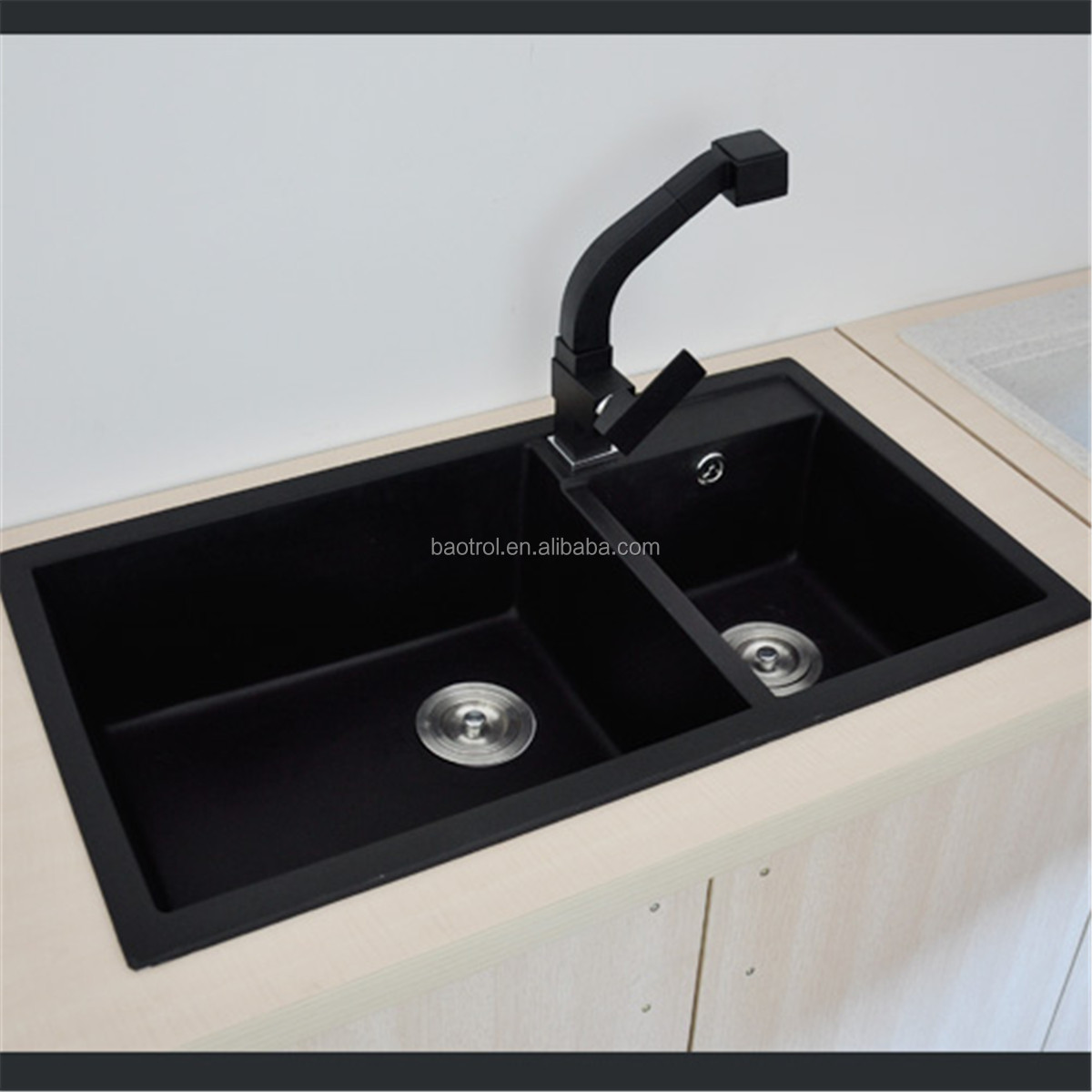 Small And Big Bowl Artificial Quartz Kitchen Sinkquartz