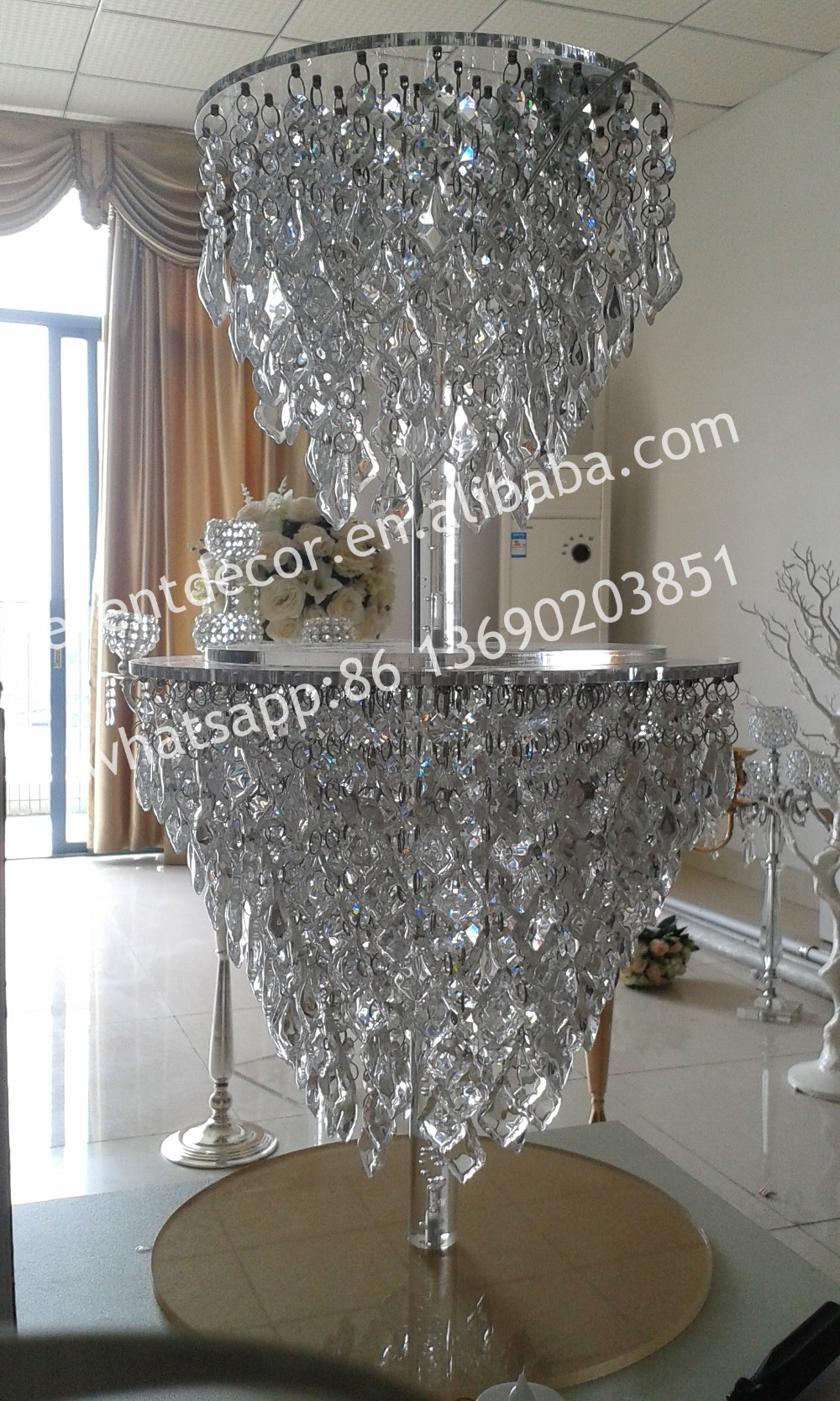 Shining Crystal Chandelier Cake Stand For Wedding