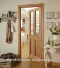 Living Room White Oak Wooden Door With Clear Tempered