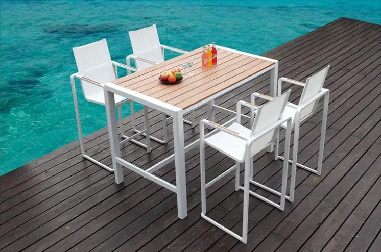 hoomall meuble de patio exterieur en aluminium plastique bois blanc balancoire de piscine table et chaise de bar personnalise elegant buy bar