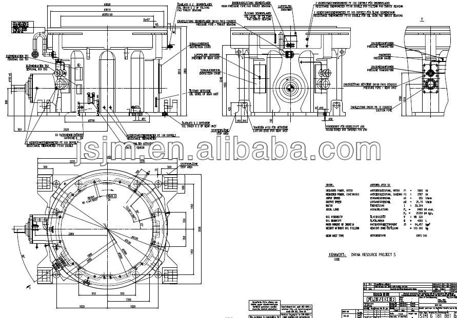Kmps576 flender gearbox para molino de cemento con el