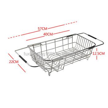 Vegetable Drainer Rack Drain Tray Sink Wire Mesh Basket