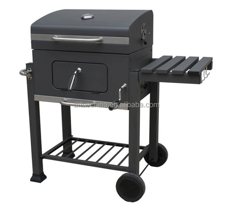 Charcoal BBQ grill carro camping parrilla con mesa
