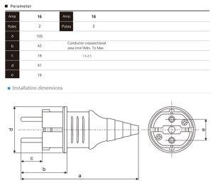 Saip saipwell Hot Sale Ip44 230v 16a 2 Pin French Type