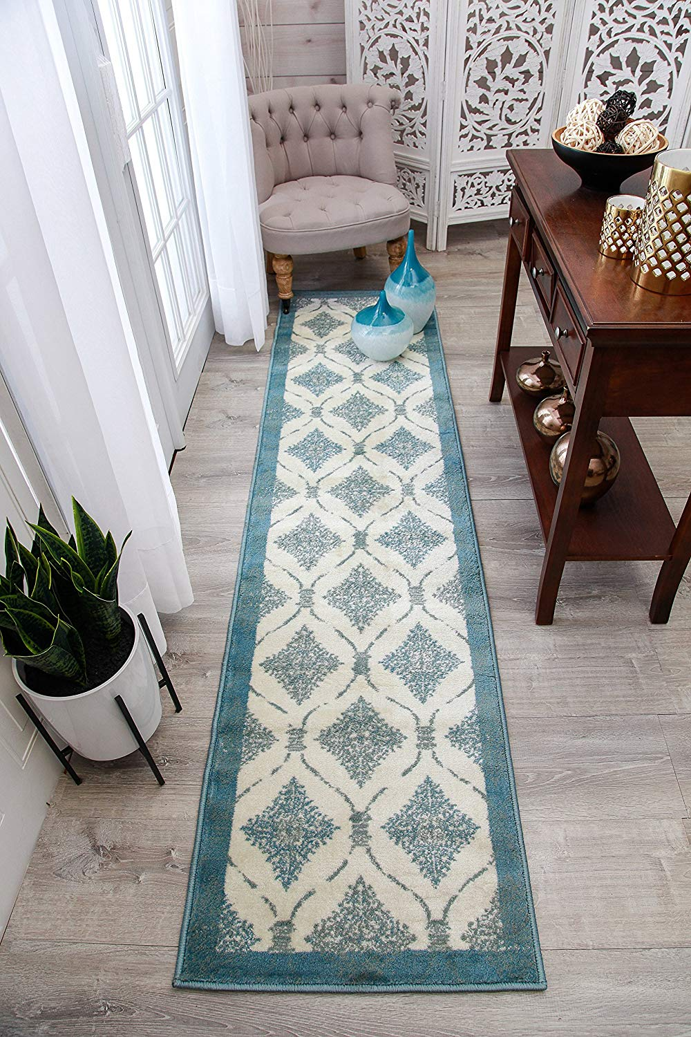 kitchen runner glass table and chairs cheap hallway rug runners find deals on line at get quotations modern blue 2x8 white rugs cream black gray 2x7 narrow
