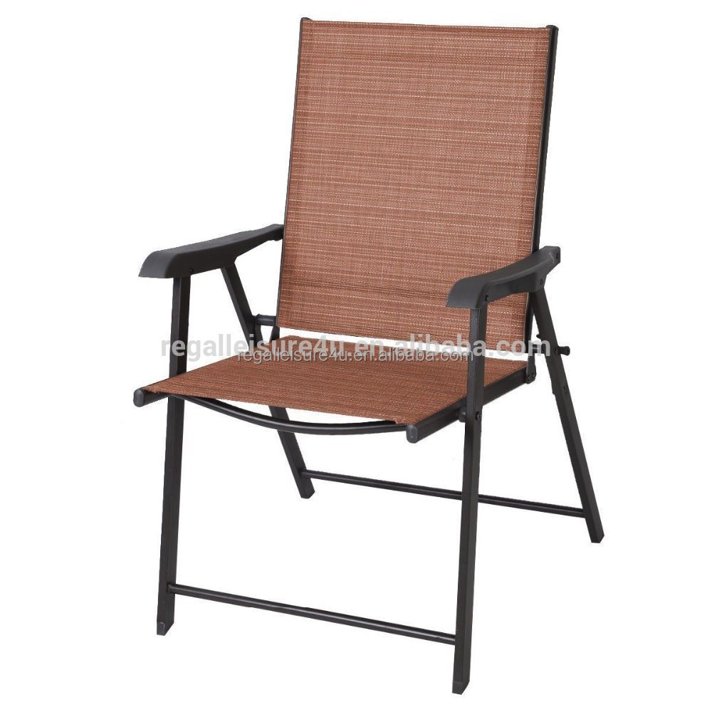 Patio Folding Chairs Outdoor Garden Patio Steel Sling Folding Chair With Plastic Arms Buy Outdoor Sling Stacking Chair Metal Sling Chair Plastic Chair With Steel Frame