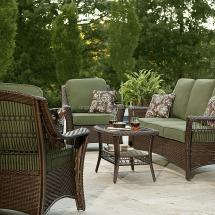 Green Color 5 Piece Patio Set Resin Wicker Outdoor