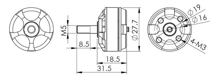 Dys Fpv Racer Brushless Motor Mr2205-2300kv With Lock Nut