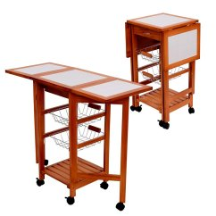 Outdoor Kitchen Storage Cart Oakley Sink Backpack Review Cheap Trolley Find Deals On Get Quotations Tenive Wooden Folding Dining Portable Rolling Tile Top
